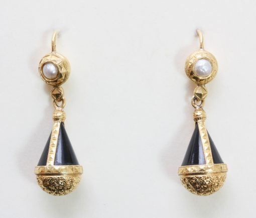 gold onyx and pearl earrings