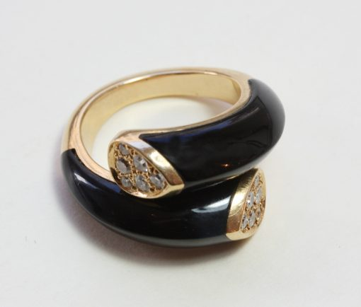 onyx and diamonds 'toi et moi' ring