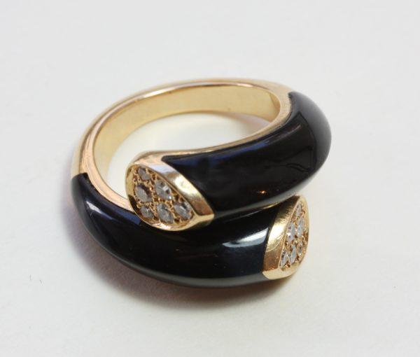 onyx and diamonds 'toi et moi' ring