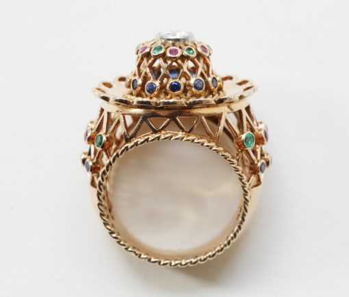 large gold and gemset cage dress ring