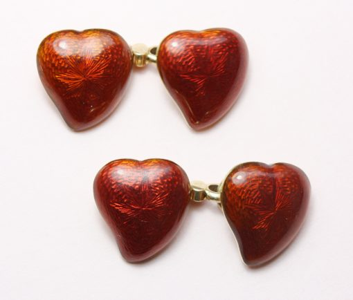 gold and red enamel heart cufflinks