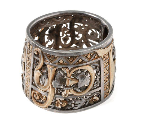 silver neo gothic cuff bangle