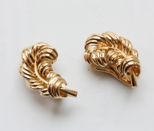 gold feather ear clips