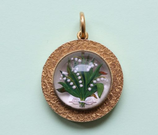 Lily-of-the-Valley reserve intaglio crystal pendant