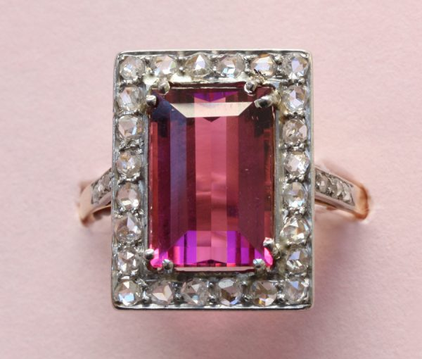 diamond and tourmaline ring