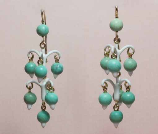 "turquoise and white enamel ""Cheapside' earrings"