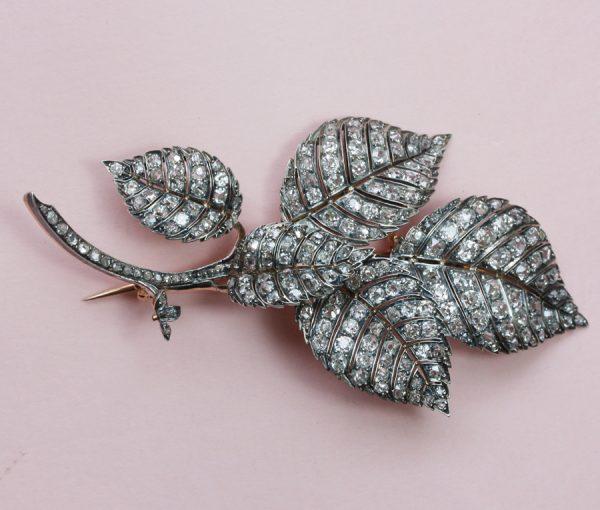 naturalistic diamond beech brooch
