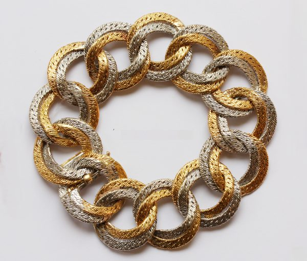 two tone colored gold bracelet