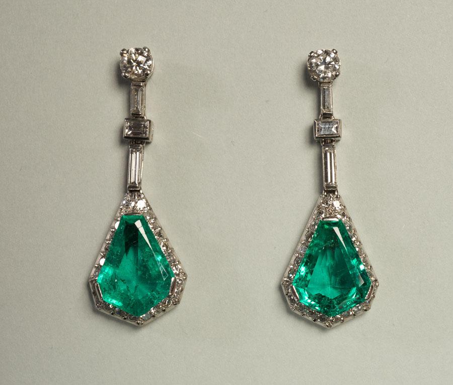 Art Déco Diamond Emerald Earrings