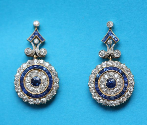 diamond and sapphire target earrings