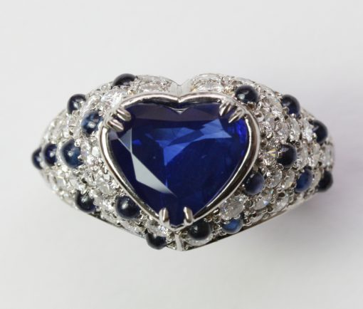 platinum and sapphire heart ring