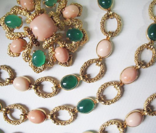 gold coral and agate suite