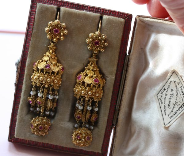 filligree gold ruby and pearl earrings in Indian taste