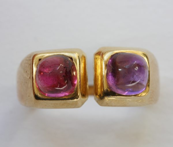gold tourmaline and amethyst ring