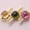 tourmaline and citrine 1970s brooch
