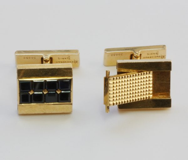 gold and sapphire 'day and night' cufflinks