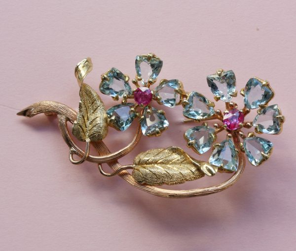 aquamarine and ruby flower brooch