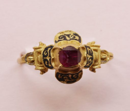 ruby and gold renaissance ring