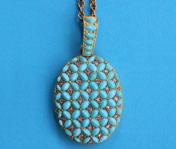 turquoise and diamond locket
