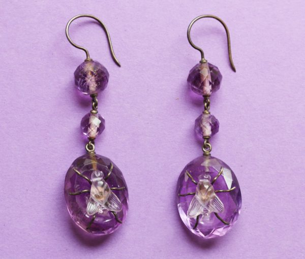 amethyst fly earrings