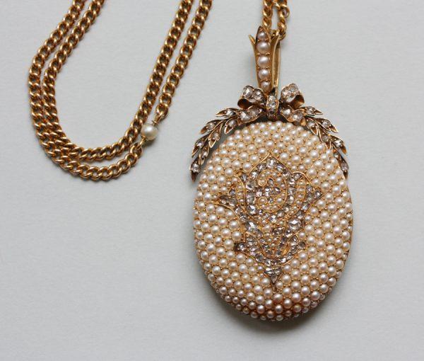 pearl and diamond locket
