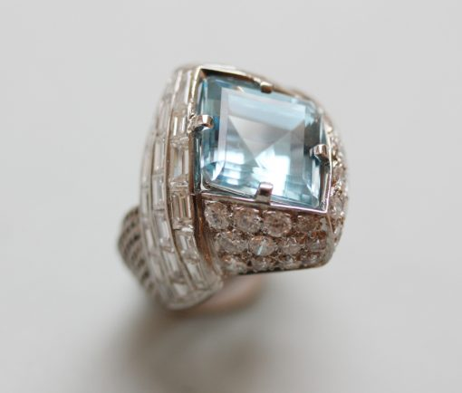 diamond and aquamarine ring