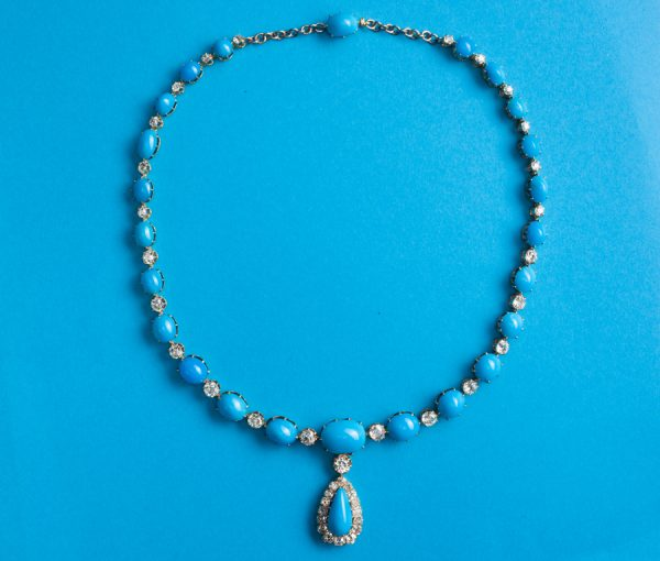 diamond and tuquoise necklace and pendant