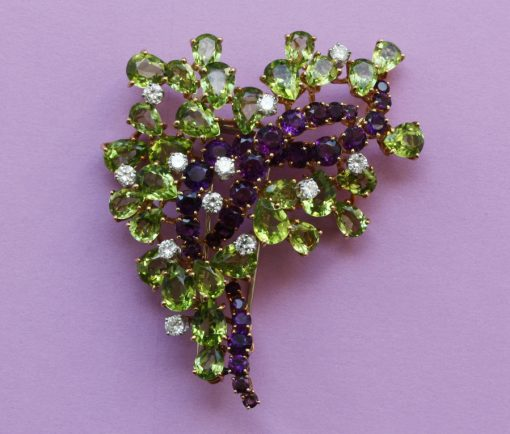 diamond peridot and amethyst brooch