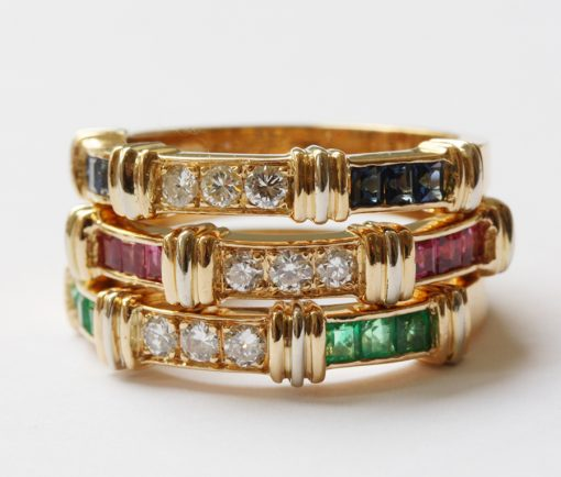 three colored band rings