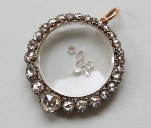 rose cut diamond locket