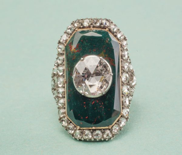 diamond and bloodstone ring