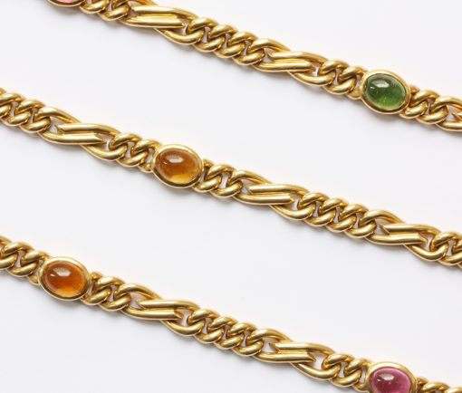 gold and tourmaline long chain