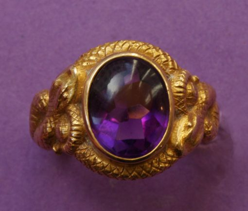 gold and amethyst snake ring