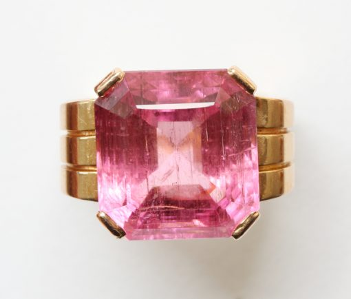 pink tourmaline and gold ring