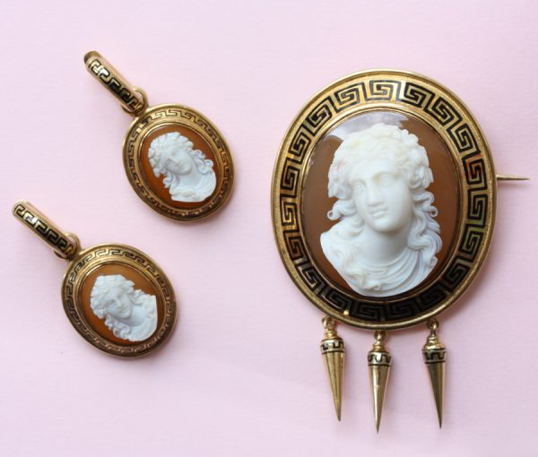 cameo brooch and earrings