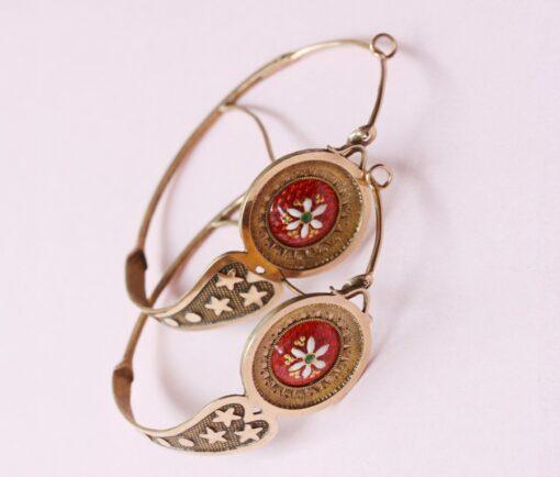 gold and enamel 'poissardes' earrings