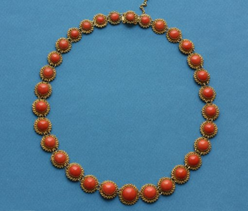coral and gold necklace