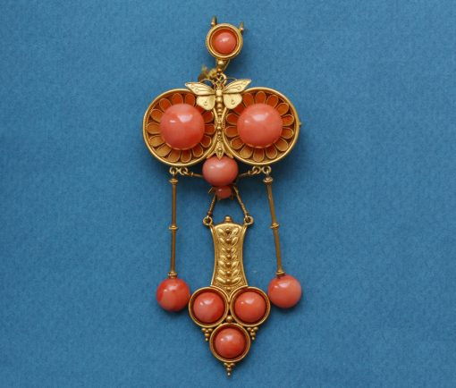 Etruscan Revival coral and gold pendant