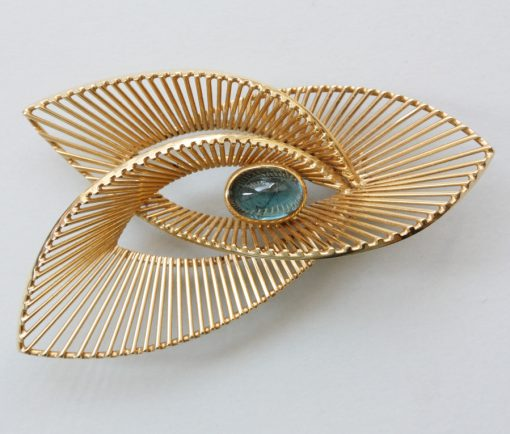 gold and tourmaline brooch