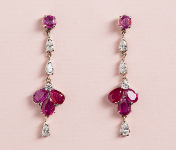 platinum diamond and ruby earrings