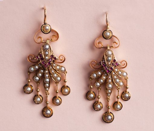 gold pearl and ruby earrings