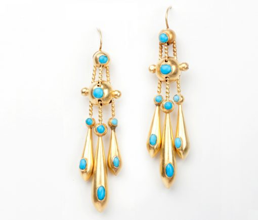 gold and tuquoise earrings