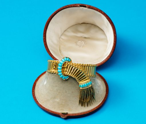 turquoise and gold buckle bracelet
