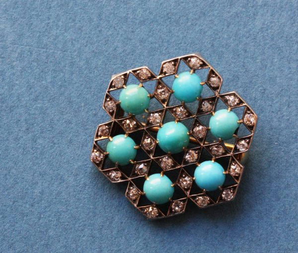 turquoise and diamond geometrical brooch