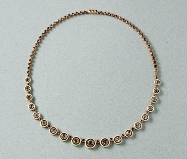 brown diamond riviere necklace
