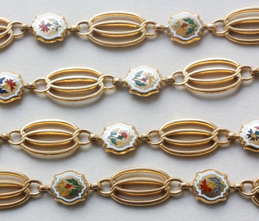 gold and enamel long chain