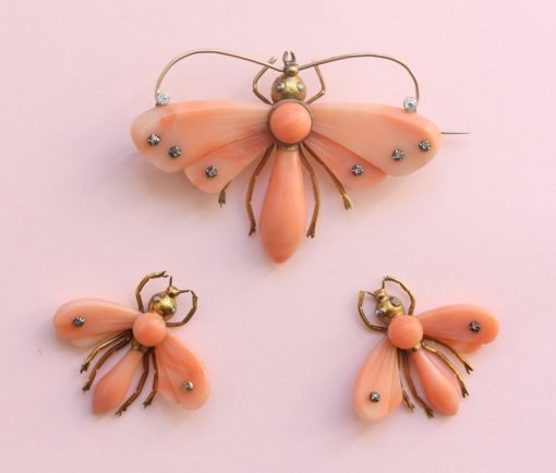 butterfly coral earrings and brooch