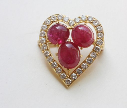 diamond and ruby heart brooch