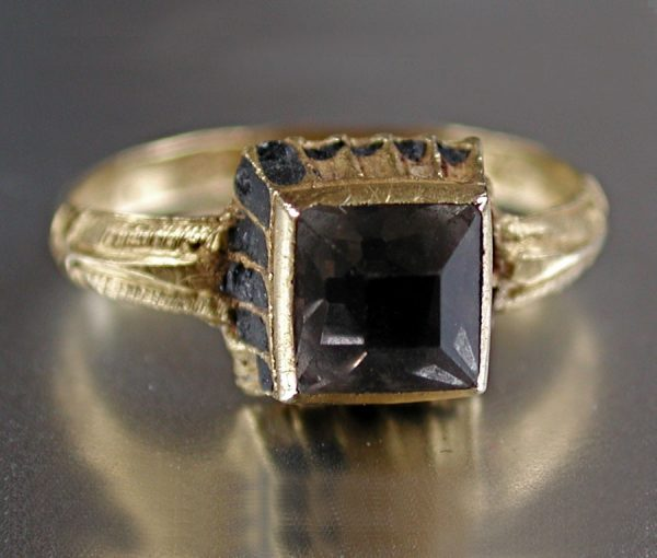 ring with table cut rock crystal