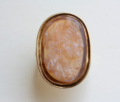 agate cameo ring